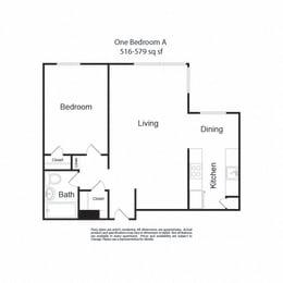 LockVista FP|OneBedroomA|1b1b|516-579sf