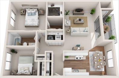 Cottage 2B/1.5B 3D Floor Plan