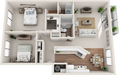 Summerfield 2B/2B 3D Floor Plan