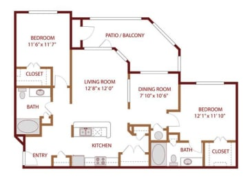 Floor plan at The Greens of Fossil Lake, Fort Worth