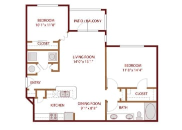 Floor plan at The Greens of Fossil Lake, Fort Worth, Texas