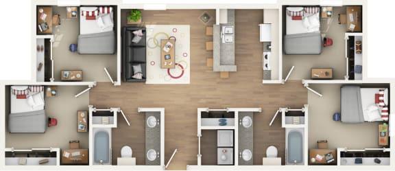 Floor Plan 4 BED 2 BATH