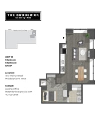 The Broderick 1B1B 575sf