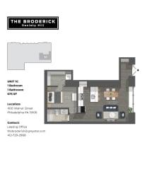 The Broderick 1B1B 675sf