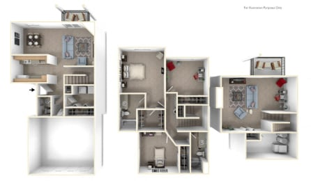 Three Bedroom Two and Half Bath - Two Story Floorplan at Foxwood and The Hermitage, Portage, Michigan