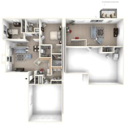 Two Bedroom Two Bath Ranch Floorplan at Foxwood and The Hermitage, Portage, 49024