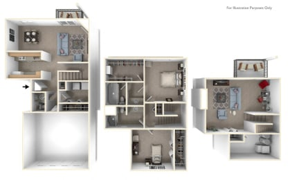 Two Bedroom  Two Bathroom - Two-Story Floorplan at Foxwood and The Hermitage, Portage, MI