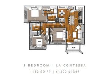 Floor Plan at La Contessa Luxury Apartments, Texas, 78045