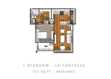 Floor Plan at La Contessa Luxury Apartments, Laredo, TX 78045