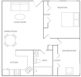 1x1 (1C Renovated) Floorplan