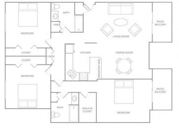 3 BR Floor plan at Paradise Palms, Phoenix, AZ