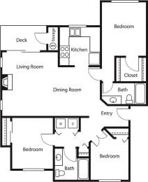3x2 – 3 Bedroom 2 Bath Floor Plan Layout – 1173 Square Feet