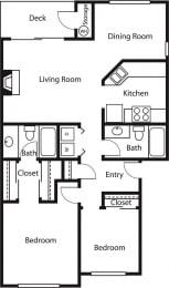 2x2 1 – 2 Bedroom 2 Bath Floor Plan Layout – 984 Square Feet