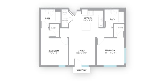 Fuse2 Floor Plan at AMP Apartments, Louisville, 40206, opens a dialog