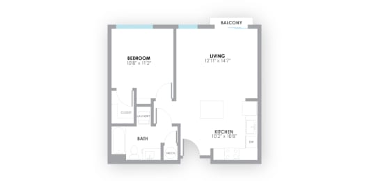 Strobe Floor Plan at AMP Apartments, Louisville, 40206, opens a dialog