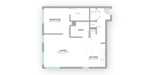 Watt Floor Plan at AMP Apartments, Louisville, opens a dialog