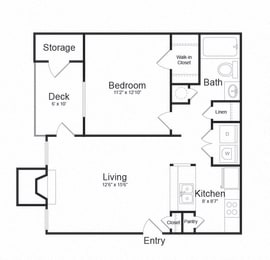 One Bed One Bath Floor plan at The Madison at Eden Brook, Columbia, MD, 21046