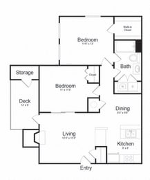 Two Bed One Bath Floor plan at The Madison at Eden Brook, Columbia, 21046