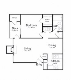 One Bed One Bath Floor plan at The Hamilton at Kings Place, Columbia, MD, 21046