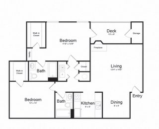 Two Bed Two Bath Floor plan at The Hamilton at Kings Place, Columbia, MD