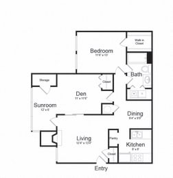 Two Bed One Bath Floor plan at The Hamilton at Kings Place, Columbia, Maryland
