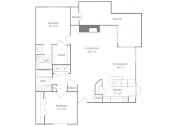 Epsom Floorplan 2 Bedroom 2 Bath 1090 Total Sq Ft at The Edge of Germantown Apartments Home, Memphis, TN 38120