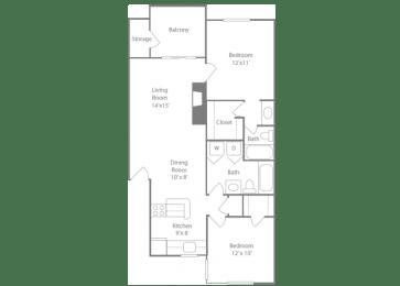 Sandown Floorplan 2 Bedroom 2 Bath 928 Total Sq Ft at The Edge of Germantown Apartments Home, Memphis, TN 38120