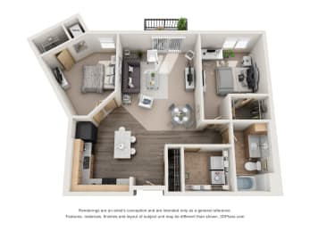 937 sq.ft. One Bed One Bath