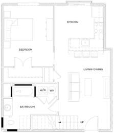 1 Bed/1 Bath Loft A1 Floor Plan at The Royal Athena, Bala Cynwyd, 19004