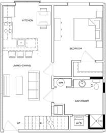 1 Bed/1 Bath Loft A1 Floor Plan at The Royal Athena, Pennsylvania