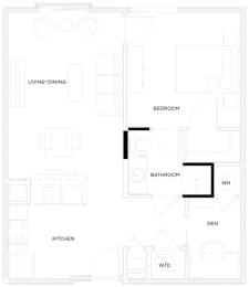 1 Bed/1 Bath A3 A Floor Plan at The Royal Athena, Bala Cynwyd