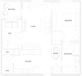 1 Bed/1 Bath Den A5 Floor Plan at The Royal Athena, Pennsylvania, 19004