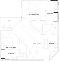 2 Bed/2 BathB2 HC Floor Plan at The Royal Athena, Bala Cynwyd, PA, 19004