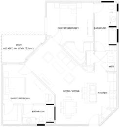 2 Bed/2 Bath B2 Floor Plan at The Royal Athena, Pennsylvania