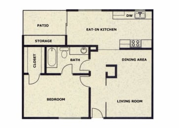 1 bedroom 1 bathroom floor plan at Wellington Estates in San Antonio, TX, opens a dialog