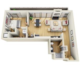 Floor Plan ONE BEDROOM ONE AND A HALF BATH