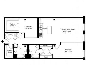 Floor Plan 2 BED 2 BATH - LOFT STYLE