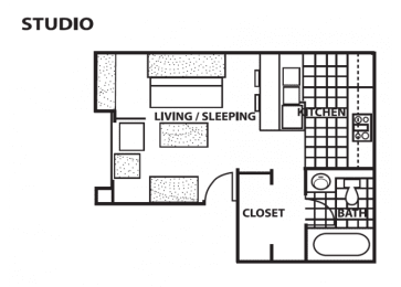 Studio floor plan at Cinnamon Tree Apartments in Albuquerque, MN