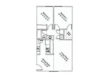 2 bedroom 1 bathroom at Zona Verde Apartments in Tucson, AZ, opens a dialog