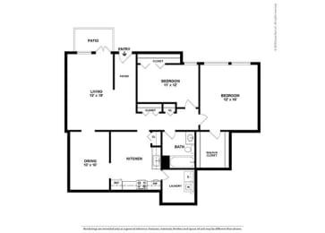 Floor Plan 2BR-1BA - B4