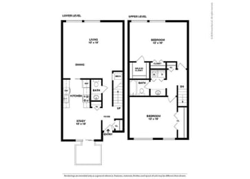 Floor Plan 2BR-1.5BA Townhouse - BTH