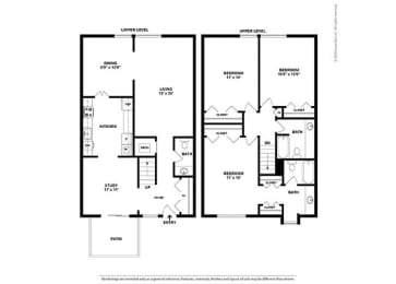 Floor Plan 3BR-2.5 Den Townhouse - CT1