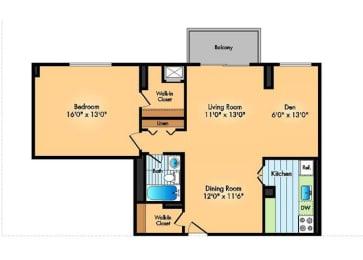 Floor Plan 1BR 1BADen