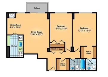 Floor Plan 2BR 1.5BA B