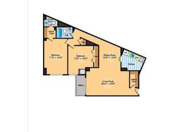 Floor Plan 2BR 1.5BA A