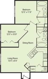 Floor Plan 2 Bed 2 Bath, opens a dialog