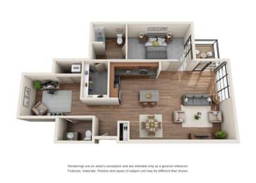 1 Bed 1 Bath Half Den Floor plan at Equinox, Washington, 98102