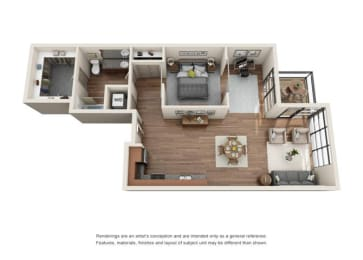1 Bed 1 Bath Den Floor plan at Equinox, Seattle, WA, 98102