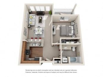 1 Bed 1 Bath Floor plan at Harrington Square, Renton, 98056