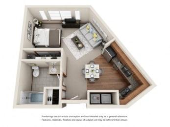 Studio Floor plan at Harrington Square, Renton, WA, 98056